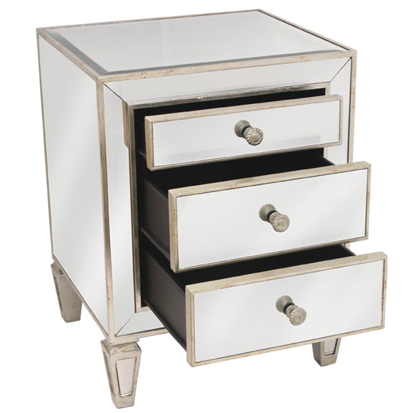 Seamless Antique Mirrored 3 Drawer Bedside Cabinet