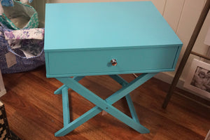 Wooden Side Table- Aqua
