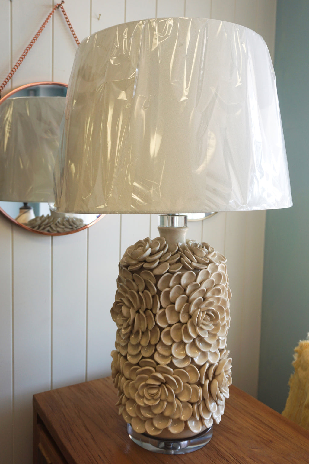 Cream Rose and White Lamp