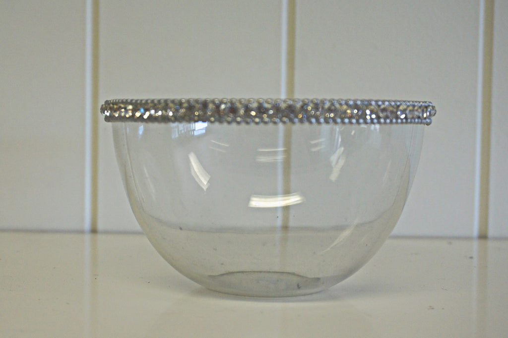 Glass Bowl With Crystal Rim