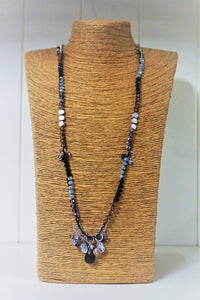 Multi Crystal And Charm Long  Necklace