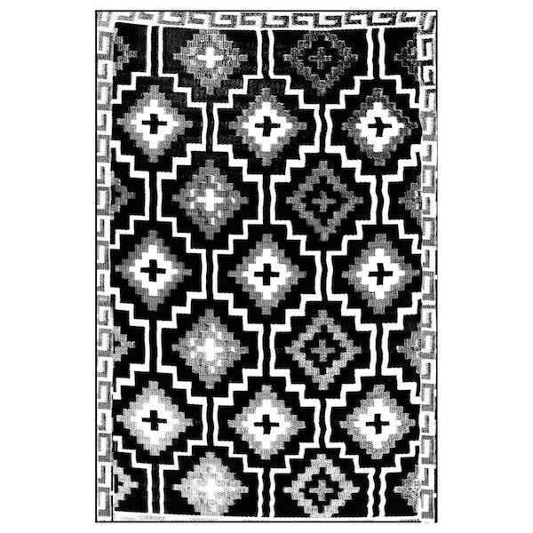 Lhasa Rug In black and cream