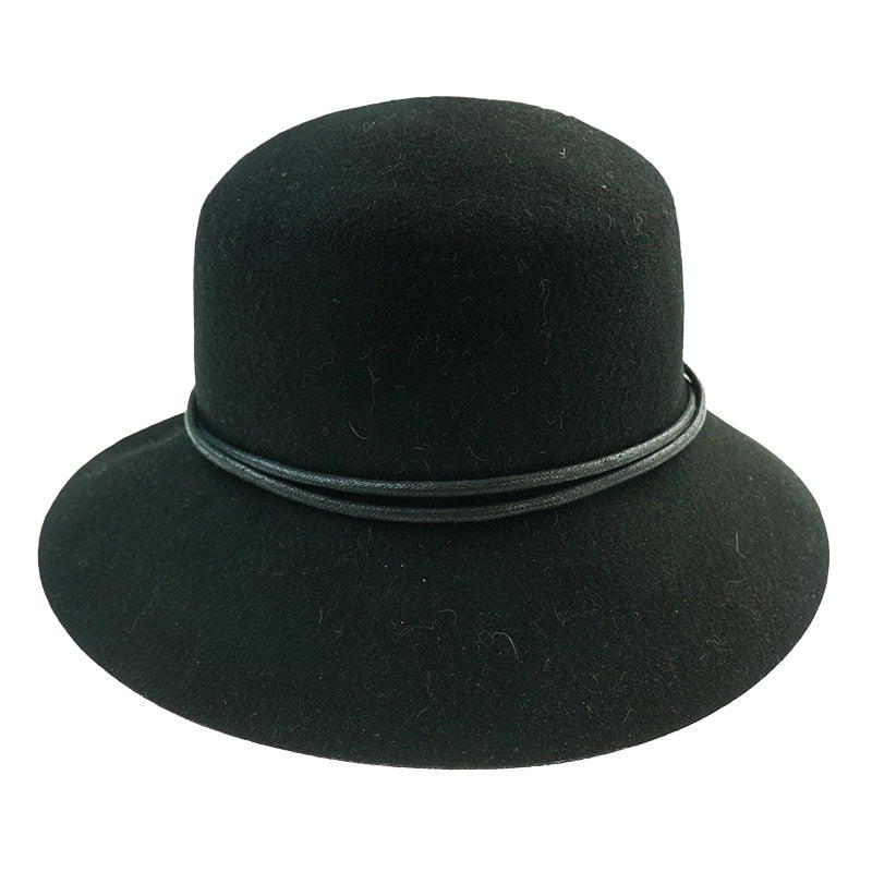 Ladies Adjustable Black Wool Hat