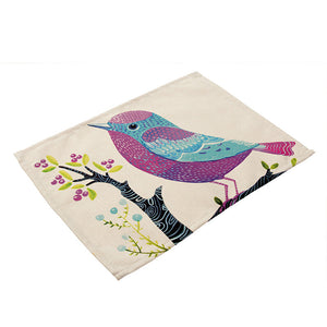 Cotton Linen Bird Printed Placemat