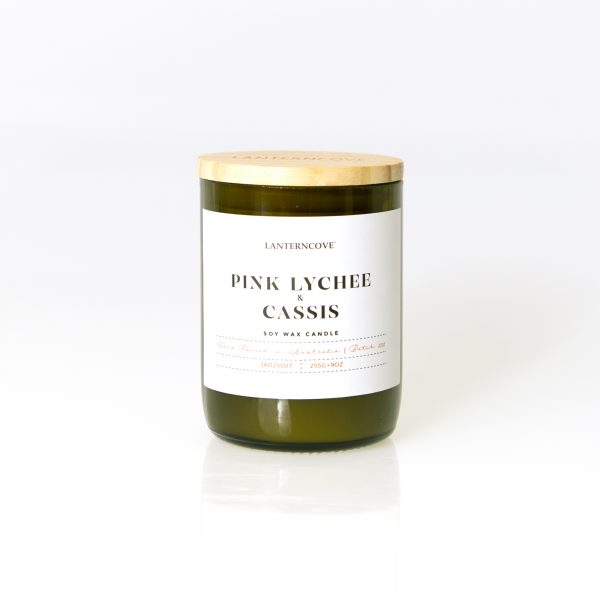 Lanterncove Jade – 9oz Pink Lychee & Cassis Soy Wax Candle