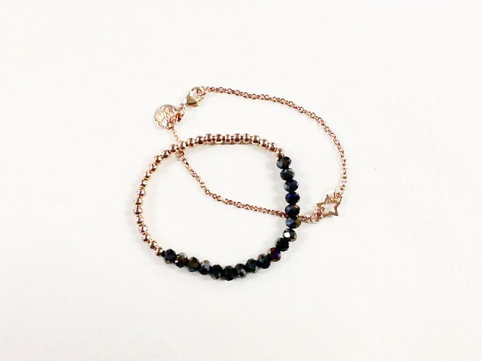 2 Strands Rose Gold with Colour Beads Bracelet
