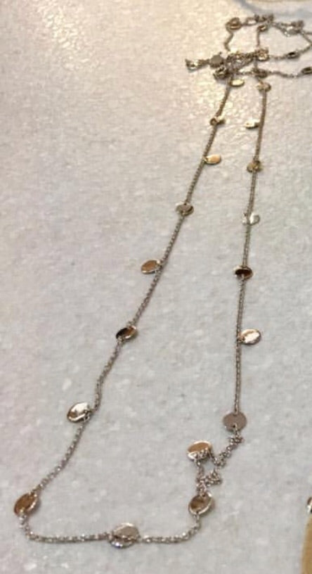 Long Chain Small Disc Necklace
