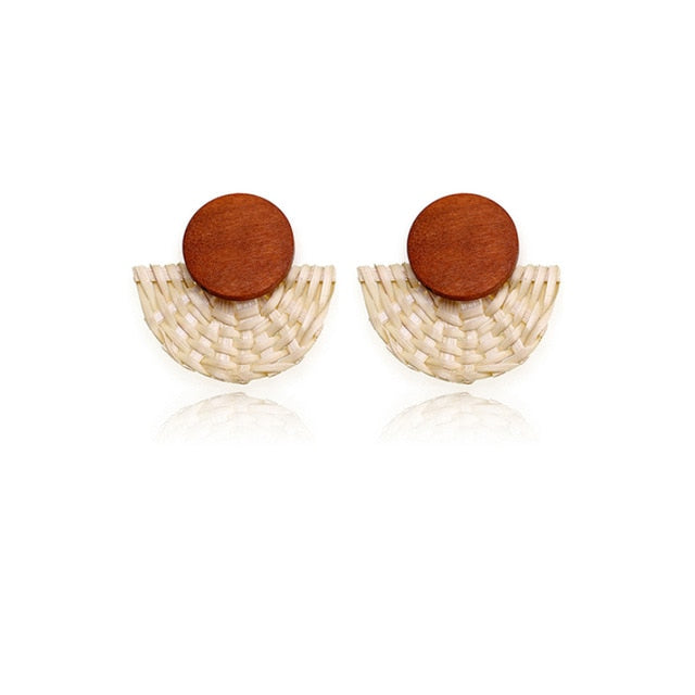 Timber and Woven Rattan  Earring