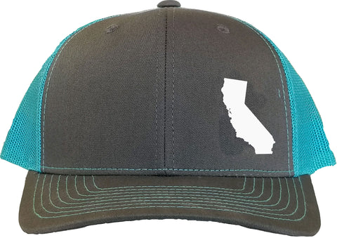California Snapback Hat - Grey/Aqua