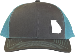Georgia Snapback Hat - Grey/Aqua