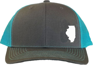 Illinois Snapback Hat - Grey/Aqua