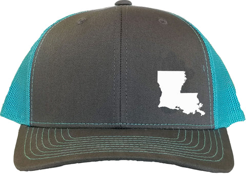 Louisiana Snapback Hat - Grey/Aqua
