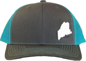 Maine Snapback Hat - Grey/Aqua