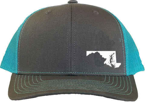 Maryland Snapback Hat - Grey/Aqua