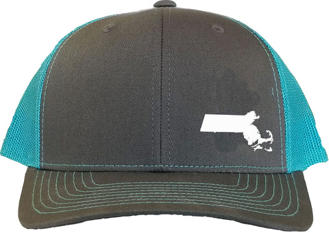 Massachusetts Snapback Hat - Grey/Aqua