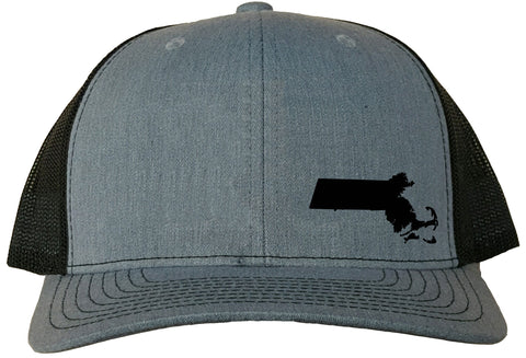 Massachusetts Snapback Hat - Grey/Black