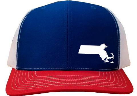 Massachusetts Snapback Hat - Royal/White/Red