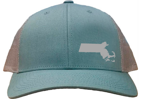 Massachusetts Snapback Hat - Smoke Blue/Aluminum