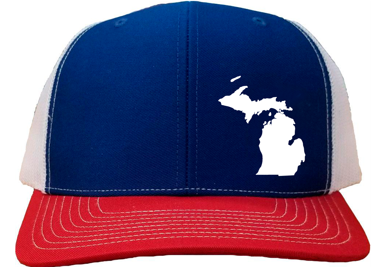 Michigan Snapback Hat - Royal/White/Red