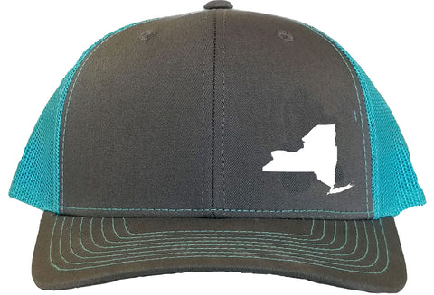 New York Snapback Hat - Grey/Aqua