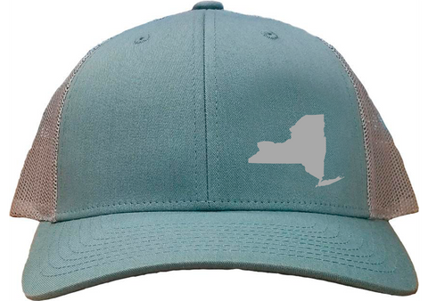New York Snapback Hat - Smoke Blue/Aluminum
