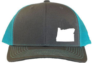 Oregon Snapback Hat - Grey/Aqua
