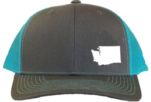 Washington Snapback Hat - Grey/Aqua