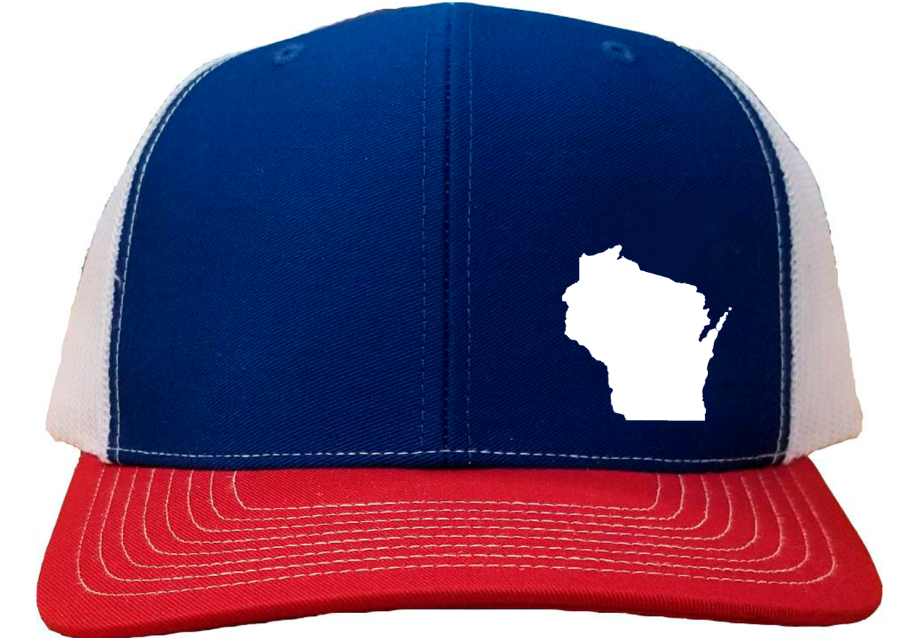 Wisconsin Snapback Hat - Royal/White/Red