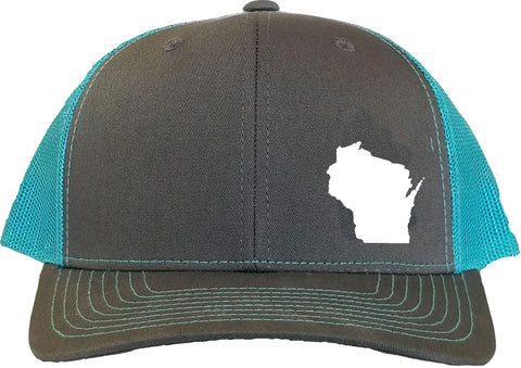 Wisconsin Snapback Hat - Grey/Aqua