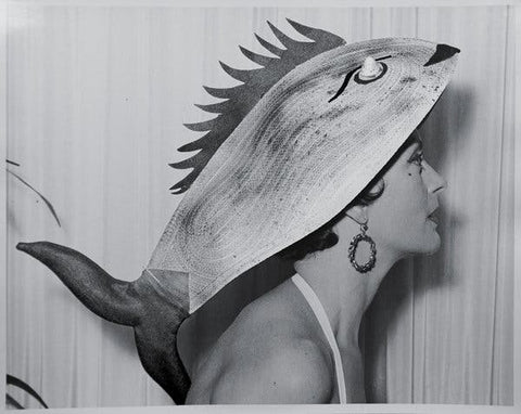 Fish inspired oversized women's hat designed by Bill Cunningham during young age.
