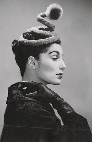 A customers designed hat by Bill Cunningham made in his New York shop during 50s.