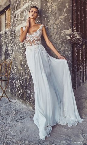 Another illustration of a gorgeous wedding dress incorporating a scoop neck style as a main design element.