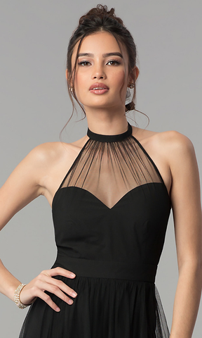 This is an example of an illusion neckline used in the design of black dress for special occasions.
