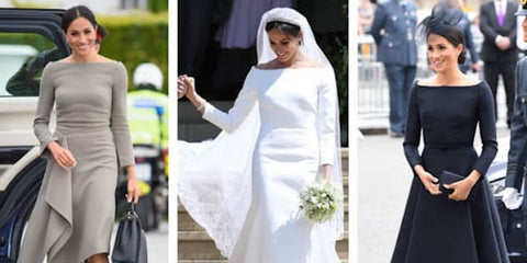 Meghan Markle depicted in her boatneck dress that were recognized by fashion magazines as her signature style.