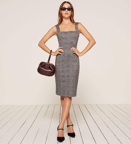 It's a great example of a square neckline dress. Fitted below the knee is perfect for going to the office and business meeting.