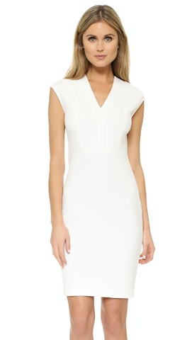 """It is a great example of the most beneficial neckline for most women - V-neck neckline. It is a beautiful white 2"""" above the knee well fitted dress, and V-neck cut out looks smashing."""