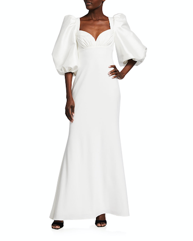 This dress exemplifies sweetheart evolution from 1940s to 2021 perfectly! This ankle length dress in white with a 3/4 full sleeve and sweetheart neckline style is absolutely stunning.