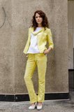 Women's Spring Summer Tweed Straight Leg Pants with Yoke Waist, Front Pockets & Decorative Eyelet