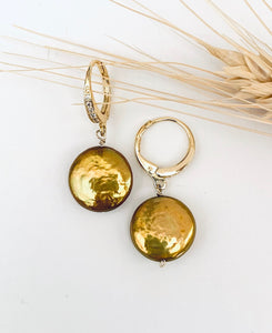 Sunrise to Sunset Golden Coin Pearls Earrings