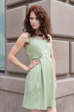 Cotton Pique Spring Tank dress with Front Tabs in Sage Green