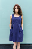 Cotton Pique Spring Tank dress with Front Tabs in Navy