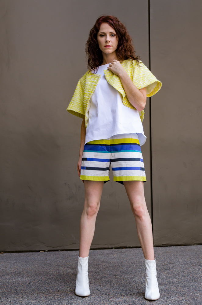 Spring Summer Women's Girls Italian Cotton Beach Shorts with Pockets in Blue & Yellow Stripes