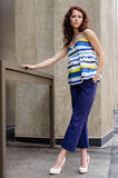 Be the city queen this summer in our perfect pair - Ankle Wide Hem Boat Pants in Navy & Wrap Empire Tank Top in Yellow Stripe. Elegant design and fun detailing will make you the center of attraction. Ready to try?
