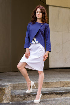 Jessie is modeling #ootd, our Pencil Skirt with Scallop in White combined with Overlapping Front Jacket in Navy and Cap Sleeve Corset Top from our latest Spring Summer collection.