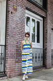 Greet this summer season in our one of a kind Maxi Dress with Stripes and Pockets!  Unique Empire waistline and adjustable Wrap front closure assure extra comfort and chic along with Italian 100% Cotton Poplin. You can even run in it, if you are later for your date. We added long chain beads in neon green for more fun! Do you like this combination?