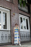 Women's Spring Summer Spaghetti Straps Cotton Wrap Empire Maxi Dress with Pockets in Stripes