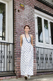 Women's Summer Cotton Wrap Empire Spaghetti Strap Maxi Dress with Pockets