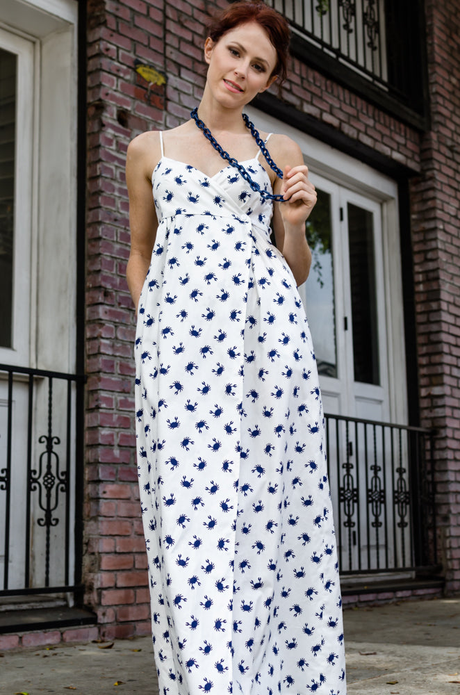 Women's Summer Cotton Wrap Empire Spaghetti Strap Maxi Dress with Pockets in Blue Crab