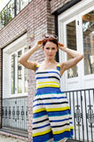 Spring Summer Italian Cotton Women's 50-s Inspired Princess Line Stripe Square Neck Dress