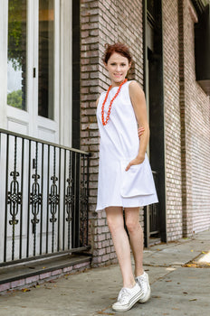 60-s Inspired Women's Cotton Redford A-line Dress with Loose Pocket